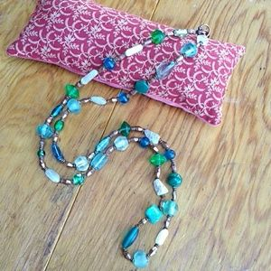 "SandRhyme 36"" Blue & Green Mix Bead Necklace"